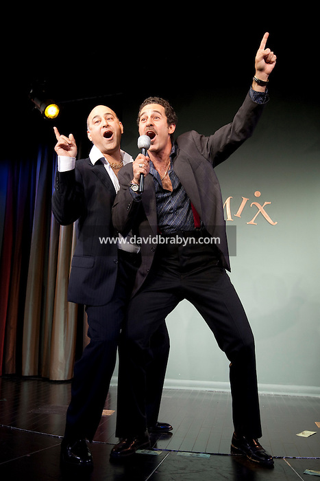 Comedians Ramsey Faragallah (L) and Waleed Zuaiter perform in the 6th Annual NY Arab-American Comedy Festival in New York, USA, 10 May 2009.
