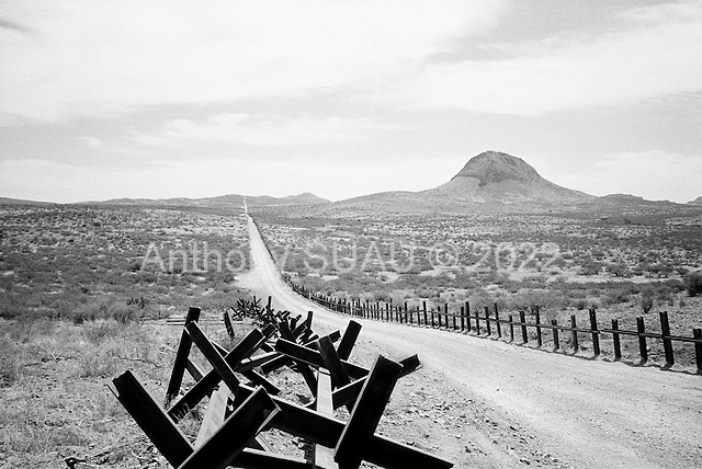 Douglas, Arizona<br /> May 4, 2008<br /> <br /> East of Douglas new vehicle barrier marks the US/Mexican border. The vast majority of the Arizona/Mexican border is now marked by vehicle barrier or high fencing.