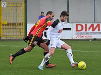 FC MANDEL UNITED IZEGEM INGELMUNSTER - RC GENT :<br /> Michiel De Bruycker (R) gaat voorbij Abdallah Bouchaala (L)<br /> <br /> Foto VDB / Bart Vandenbroucke
