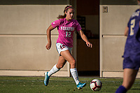 STANFORD, CA - OCTOBER 12: Jojo Harber #12 of the Stanford Cardinal during a game between the Stanford Cardinal and Washington Huskies women's soccer teams at Cagan Stadium on October 6, 2019 in Stanford, California. during a game between University of Washington and Stanford Soccer W at Laird Q. Cagan Stadium on October 12, 2019 in Stanford, California.