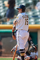 David Fletcher (15) of the Salt Lake Bees bats against the Fresno Grizzlies at Smith's Ballpark on September 4, 2017 in Salt Lake City, Utah. Fresno defeated Salt Lake 9-7. (Stephen Smith/Four Seam Images)