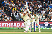 3rd December 2017, Adelaide Oval, Adelaide, Australia; The Ashes Series, Second Test, Day 2, Australia versus England; Mitchell Starc of Australia hits the ball towards the boundary on the leg side