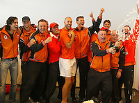 06-03-2006,Swiss,Freibourgh, Davis Cup , Swiss-Netherlands,celebration time for the Dutch team after defeating Swiss
