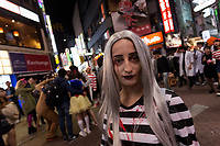 A western woman enjoys the Halloween celebrations in Shibuya. Saturday October 28th 2017