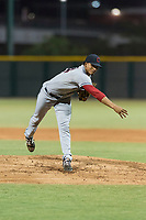 AZL Indians 2 starting pitcher Carlos Vargas (64) follows through on his delivery during an Arizona League game against the AZL Cubs 2 at Sloan Park on August 2, 2018 in Mesa, Arizona. The AZL Indians 2 defeated the AZL Cubs 2 by a score of 9-8. (Zachary Lucy/Four Seam Images)