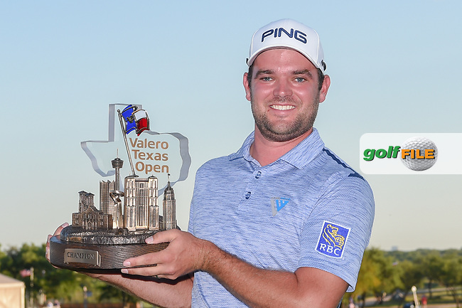 Corey Conners (CAN) holds the trophy for winning the Valero Texas Open, at the TPC San Antonio Oaks Course, San Antonio, Texas, USA. 4/7/2019.<br /> Picture: Golffile   Ken Murray<br /> <br /> <br /> All photo usage must carry mandatory copyright credit (© Golffile   Ken Murray)