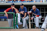 Boston Red Sox manager John Farrell, coach Torey Lovullo, and designated hitter Jonny Gomes #5 during a Spring Training game against the Philadelphia Phillies at Bright House Field on March 24, 2013 in Clearwater, Florida.  Boston defeated Philadelphia 7-6.  (Mike Janes/Four Seam Images)