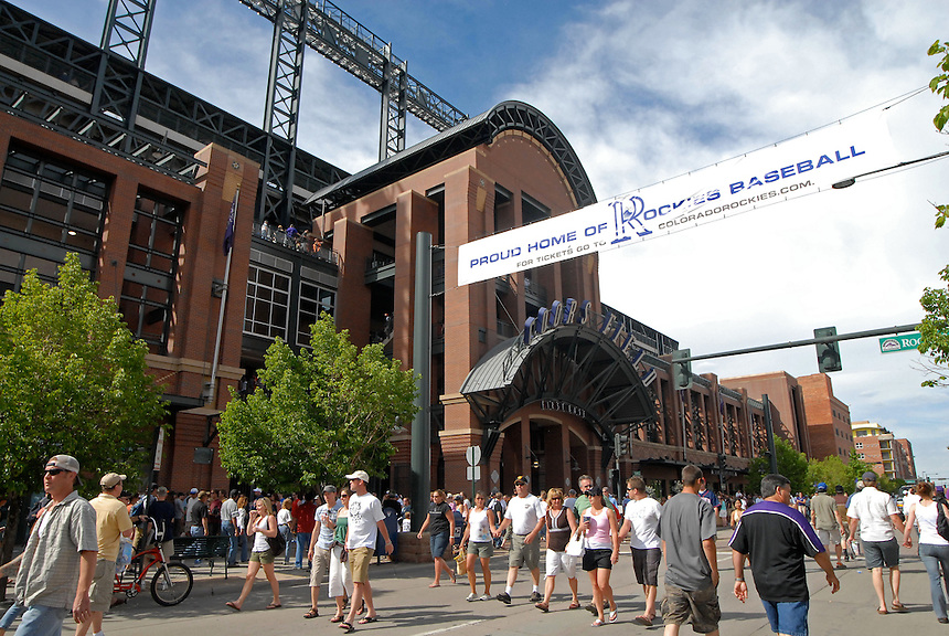 A general view of the 1st base entrance to Coors Field on Blake Street before an interleague game between the Minnesota Twins and the Colorado Rockies in Denver, Colorado on May 18, 2008.
