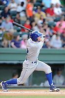Second baseman Kenny Diekroeger (2) of the Lexington Legends bats in a game against the Greenville Drive on Sunday, August 31, 2014, at Fluor Field at the West End in Greenville, South Carolina. Greenville won, 3-2. (Tom Priddy/Four Seam Images)