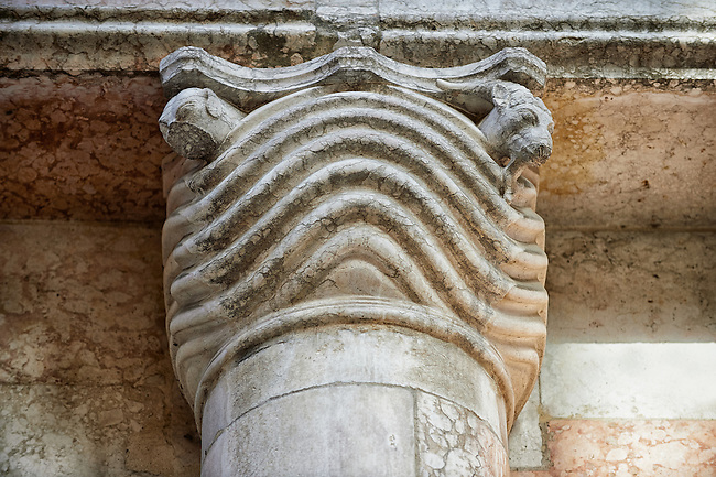 Pillar capital on the Romanesque Baptistery of Parma, circa 1196, (Battistero di Parma), Italy