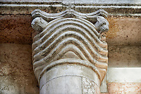 Pillar capital on the Romanesque Baptistery of Parma, circa 1196, (Battistero di Parma), Italy