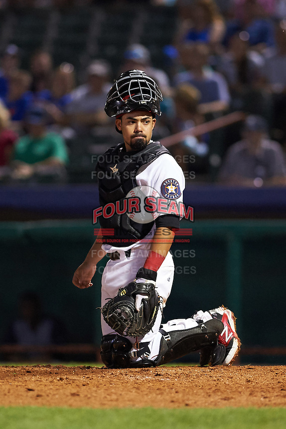 Tri-City ValleyCats catcher Richard Gonzalez (11) looks to the dugout during a game against the Brooklyn Cyclones on September 1, 2015 at Joseph L. Bruno Stadium in Troy, New York.  Tri-City defeated Brooklyn 5-4.  (Mike Janes/Four Seam Images)