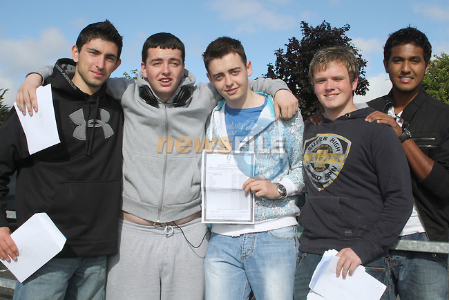 Brian McGlew, Cathal Khan, Sean O'Brien, Craig Reid and Niju Thomas after recieving their leaving cert results at St. Josephs School, Drogheda, Co.Louth...Picture Jenny Matthews/Newsfile.ie
