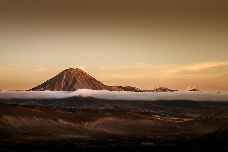 Mt Ngaurahoe at Dawn, from Tukino ski field road. North Island, New Zealand - stock photo, canvas, fine art print