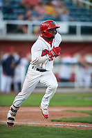 Orem Owlz D'Shawn Knowles (32) runs toward first base during a Pioneer League game against the Idaho Falls Chukars at The Home of the OWLZ on August 13, 2019 in Orem, Utah. Orem defeated Idaho Falls 3-1. (Zachary Lucy/Four Seam Images)