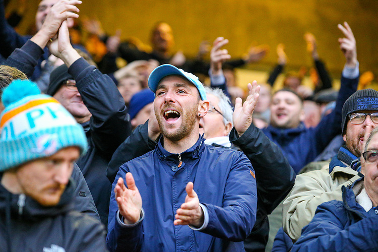 Leeds United fans applaud their team during the second half<br /> <br /> Photographer Alex Dodd/CameraSport<br /> <br /> The EFL Sky Bet Championship - Sheffield United v Leeds United - Saturday 1st December 2018 - Bramall Lane - Sheffield<br /> <br /> World Copyright © 2018 CameraSport. All rights reserved. 43 Linden Ave. Countesthorpe. Leicester. England. LE8 5PG - Tel: +44 (0) 116 277 4147 - admin@camerasport.com - www.camerasport.com
