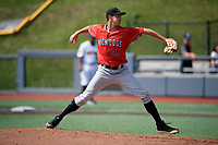 Batavia Muckdogs pitcher Bryan Hoeing (35) during a NY-Penn League game against the West Virginia Black Bears on August 29, 2019 at Monongalia County Ballpark in Morgantown, New York.  West Virginia defeated Batavia 5-4 in ten innings.  (Mike Janes/Four Seam Images)