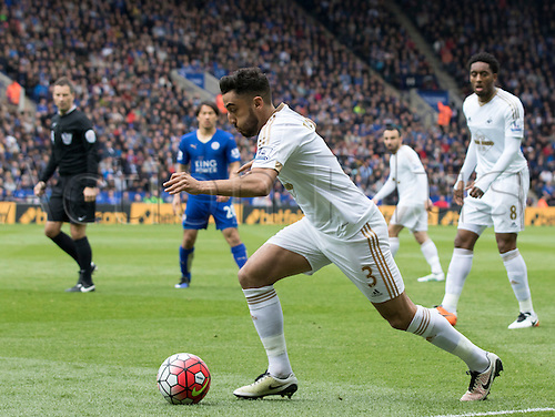 24.04.2016. King Power Stadium, Leicester, England. Barclays Premier League. Leicester versus Swansea.  Swansea City defender Neil Taylor on the attack with the ball.
