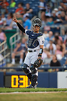 Trenton Thunder catcher Francisco Arcia (18) signals one out during an Eastern League game against the New Hampshire Fisher Cats on August 20, 2019 at Arm & Hammer Park in Trenton, New Jersey.  New Hampshire defeated Trenton 7-2.  (Mike Janes/Four Seam Images)