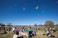 Kites fill the sky above Zilker Park at the 84th Zilker Park Kite Festival in downtown Austin, Texas as thousands attend this annual family-friendly gathering.