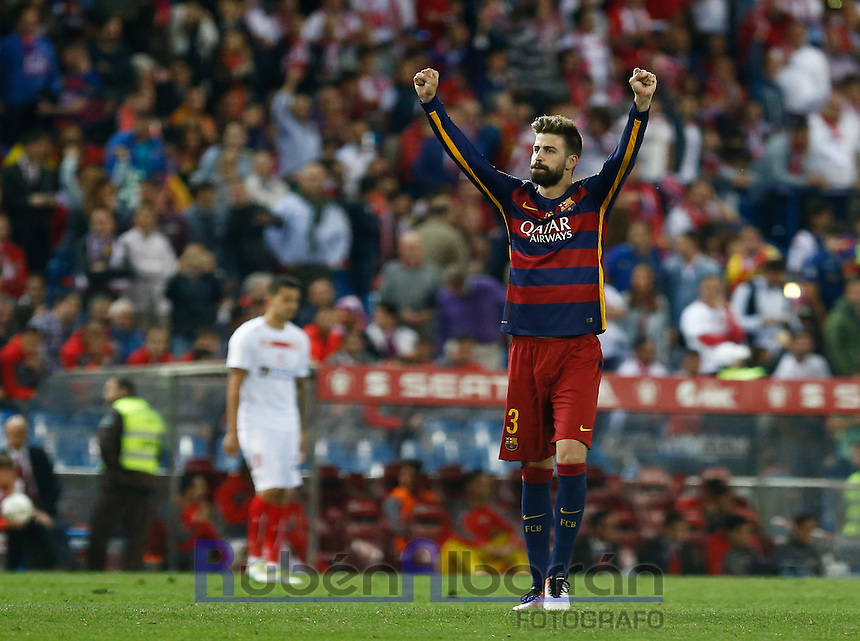 FC Barcelona´s  defense Jordi Alba celebrating after scoring during the Final of Copa del Rey match between FC Barcelona and SevillaFC at the Vicente Calderon Stadium in Madrid, Sunday, May 22, 2016.