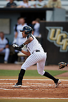 UCF Knights shortstop Brandon Hernandez (7) squares around to bunt during a game against the Siena Saints on February 17, 2019 at John Euliano Park in Orlando, Florida.  UCF defeated Siena 7-1.  (Mike Janes/Four Seam Images)