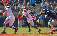 Hawgs Illustrated/BEN GOFF <br /> T.J. Hammonds, Arkansas running back, carries in the second quarter against Ole Miss Saturday, Oct. 28, 2017, at Vaught-Hemingway Stadium in Oxford, Miss.
