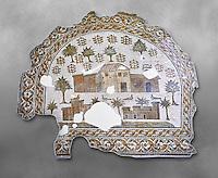 4th century AD Roman mosaic depiction of Roman Villa farms in Africa. The Bardo Museum, Tunis, Tunisia. Grey background