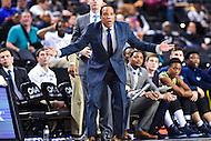 MAR 7, 2016: Baltimore, MD - North Carolina-Wilmington Seahawks head coach Kevin Keatts does not agree with the referees call against his team during the Championship game of the CAA Basketball Tournament at Royal Farms Arena in Baltimore, Maryland. (Photo by Philip Peters/Media Images International)