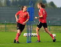 20200911 - TUBIZE , Belgium : Lenie Onzia (L) pictured during a training session of the Belgian Women's National Team, Red Flames , on the 11th of September 2020 in Tubize. PHOTO SEVIL OKTEM| SPORTPIX.BE