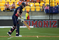 England batsman Ben Stokes loses the tip of his bat during the One Day International between the New Zealand Black Caps and England at the Westpac Stadium in Wellington, New Zealand on Friday, 2 March 2018. Photo: Dave Lintott / lintottphoto.co.nz