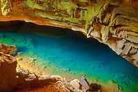 Blue Cave, Diamantina National Park, Brazil  Blue waters from calcium carbonate in limestone cave