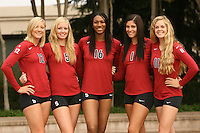 STANFORD, CA - AUGUST 12:  Erin Waller (12), Alex Fisher (5), Foluke Akinradewo (16), Cynthia Barboza (1) and Jessica Fishburn (11) of the Stanford Cardinal during picture day on August 12, 2008 at Arrillaga Plaza in Stanford, California.