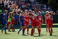 Seattle, WA - Saturday, August 26th, 2017: Christine Sinclair and Katherine Reynolds during a regular season National Women's Soccer League (NWSL) match between the Seattle Reign FC and the Portland Thorns FC at Memorial Stadium.