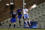 28 November 2015: North Carolina's Alex Olofson (28) and Creighton's Ricky Lopez-Espin (7). The University of North Carolina Tar Heels hosted the Creighton University Bluejays at Fetzer Field in Chapel Hill, NC in a 2015 NCAA Division I Men's Soccer Tournament Third Round match. Creighton won the game 1-0.