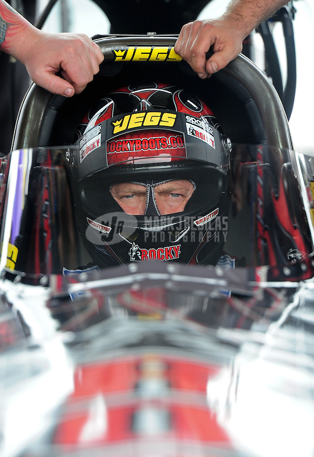 Apr. 30, 2011; Baytown, TX, USA: NHRA top fuel dragster driver Dave Grubnic during qualifying for the Spring Nationals at Royal Purple Raceway. Mandatory Credit: Mark J. Rebilas-