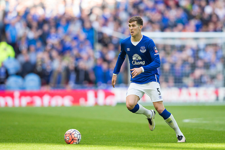 Everton's John Stones in action during todays match  <br /> <br /> Photographer Craig Mercer/CameraSport<br /> <br /> Football - The FA Cup Semi Final - Everton v Manchester United - Saturday 23rd April 2016 - Wembley - London<br /> <br /> &copy; CameraSport - 43 Linden Ave. Countesthorpe. Leicester. England. LE8 5PG - Tel: +44 (0) 116 277 4147 - admin@camerasport.com - www.camerasport.com