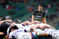 Dan Biggar of Northampton Saints watches a scrum. Gallagher Premiership match, between Northampton Saints and Leicester Tigers on October 6, 2018 at Twickenham Stadium in London, England. Photo by: Patrick Khachfe / JMP