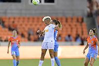 Houston, TX - Saturday July 30, 2016: Lianne Sanderson, Stephanie Ochs during a regular season National Women's Soccer League (NWSL) match between the Houston Dash and the Western New York Flash at BBVA Compass Stadium.
