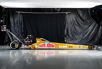 Jan 9, 2018; Brownsburg, IN, USA; The car of NHRA top fuel driver Leah Pritchett during a portrait photo shoot at Don Schumacher Racing. Mandatory Credit: Mark J. Rebilas-USA TODAY Sports