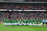 29.05.2013 London, England. Republic of Ireland squad line up for the national anthems before the International Friendly between England and Republic of Ireland from Wembley Stadium.