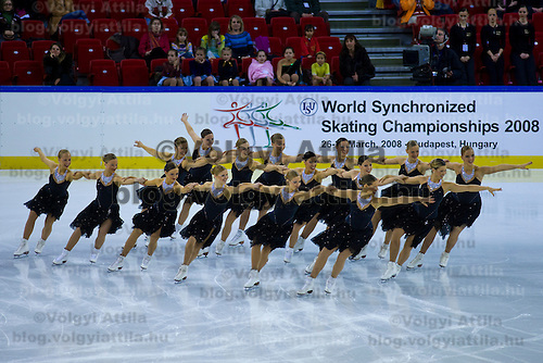 Finnish team Rockettes winning the Synchronised Skating World Championships held in Papp Laszlo Sports Arena.