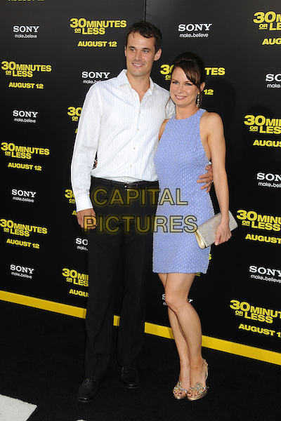 "Matthew Rolph & Mary Lynn Rajskub.""30 Minutes or Less"" World Premiere held at Grauman's Chinese Theatre, Hollywood, California, USA..August 8th, 2011.full length purple sleeveless dress gold clutch bag white shirt black trousers married husband wife.CAP/ADM/BP.©Byron Purvis/AdMedia/Capital Pictures."