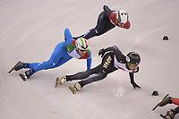 OLYMPIC GAMES: PYEONGCHANG: 17-02-2018, Gangneung Ice Arena, Short Track, Quarterfinals 1000m Men, Kazuki Yoshinaga (JPN), Itzhak de Laat (NED), Yuri Confortola (ITA), ©photo Martin de Jong