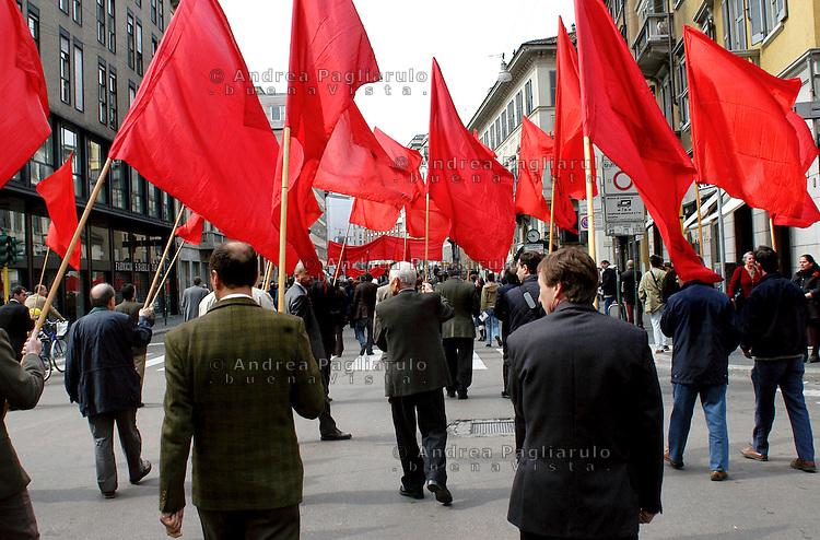 Milano, manifestazione in occasione della Festa dei Lavoratori.<br /> Milan, public rally celebrating the Labour Day.