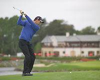 Smurfit Kappa European Open, K Club Straffin, Co Kildare..Padraig Harrington playing his second shot onto the green on the 18th hole during the 3rd round..Photo: Eoin Clarke/ Newsfile.