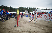 2015 CX World Champion Mathieu Van der Poel (NLD/BKCP-Powerplus) riding past his pits crew<br /> <br /> Elite Men's Race<br /> Krawatencross<br /> bpost bank trofee