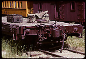 Detail of coupler on D&amp;RGW flat car with 2 trunks on flat car displayed at Colorado Railroad Museum.<br /> D&amp;RGW  Golden, CO