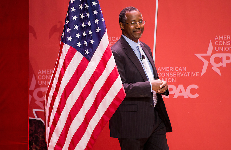 UNITED STATES - FEBRUARY 26: Dr. Ben Carson takes the stage to address the crowd at CPAC in National Harbor, Md., on Feb. 26, 2015. (Photo By Bill Clark/CQ Roll Call)