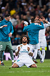 Marcelo Vieira Da Silva of Real Madrid celebrates after the UEFA Champions League Semi-final 2nd leg match between Real Madrid and Bayern Munich at the Estadio Santiago Bernabeu on May 01 2018 in Madrid, Spain. Photo by Diego Souto / Power Sport Images